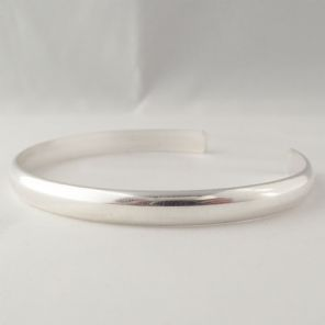 Stunningly Simple Handmade Solid Sterling Silver Cuff Torque Bangle 6mm wide